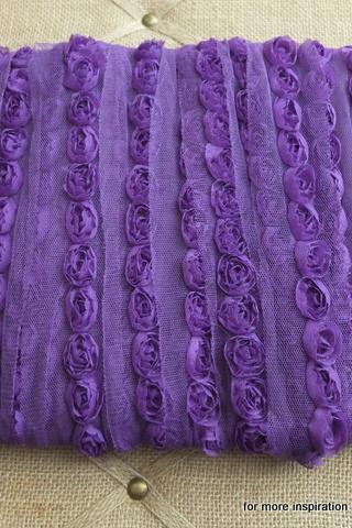 3 feet of Mini Shabby Chic Flower trim - Grape Fizz (Purple)