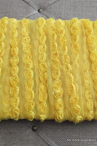 3 feet of Mini Shabby Chic Flower trim - Sunshine (Yellow)