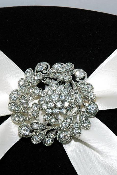 Wedding Rhinestone Brooch - Bridal Wedding Crystal Brooch - Diamante Wedding Jewellery