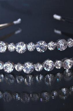 Double Wedding Headband, Bridal Headbands - Diamantes Rhinestones