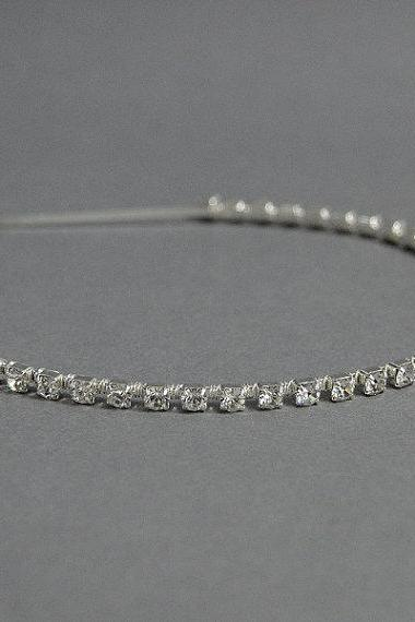 Rhinestone Headband - Wedding Headbands, Bridal, Silver Diamante/ Rhinestone