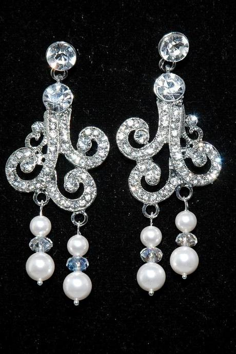 SALE Bridal Vintage Style Pearl Earrings - Art Deco Style Rhinestone Earrings