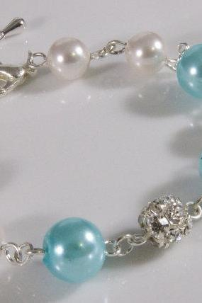 Blue Bridal Bracelet - Pearl and Rhinestone Silver Bracelet Weddings jewelry, heart shaped clasp