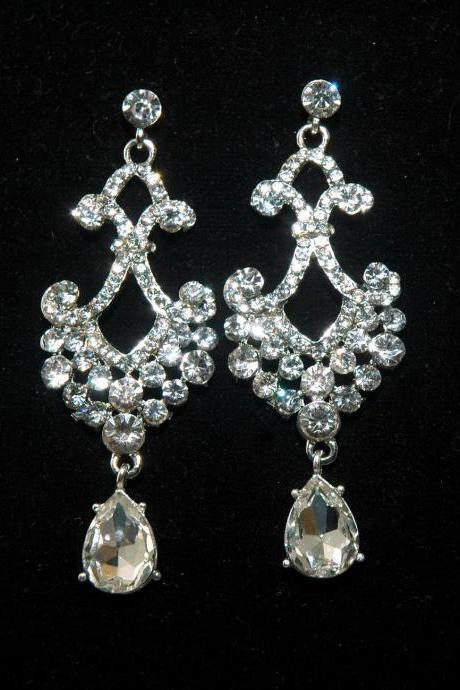 Bridal Chandelier Rhinestone Earrings - Bridal Wedding Crystal Earrings - Crystal Dangle Earrings - fashion jewelry