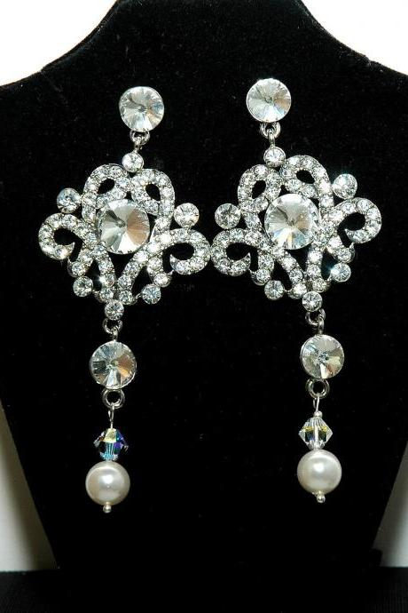 Bridal Chandelier Earrings - Rhinestone Wedding Chandelier Bridal Earrings - Diamante