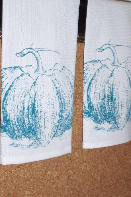 Cotton Huck Tea Towel or Dish Towel with Turquoise Pumpkin Hand Screen Print
