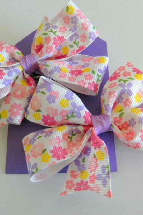 Pinwheel Pink & Purple Hair Bows - Set of 2