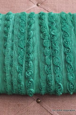 3 feet of Mini Shabby Chic Flower trim - Emerald (Green)