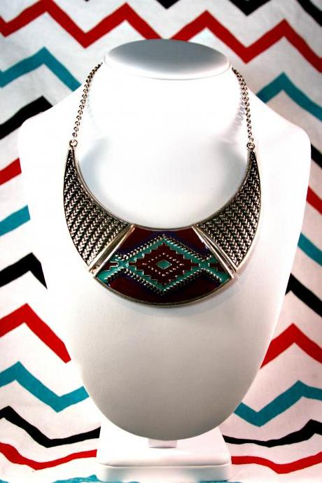 Aztec Tribal Bronze Collar Bib Statement Necklace