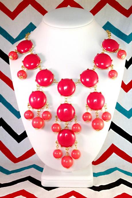 Hot Pink Fuschia J-CREW Inspired Bubble Statement Bib Necklace