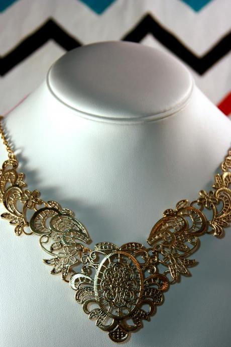Antique Vintage Bronze Gold Filigree Statement Bib Necklace