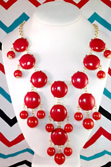 Red J-CREW Inspired Bubble Statement Bib Necklace
