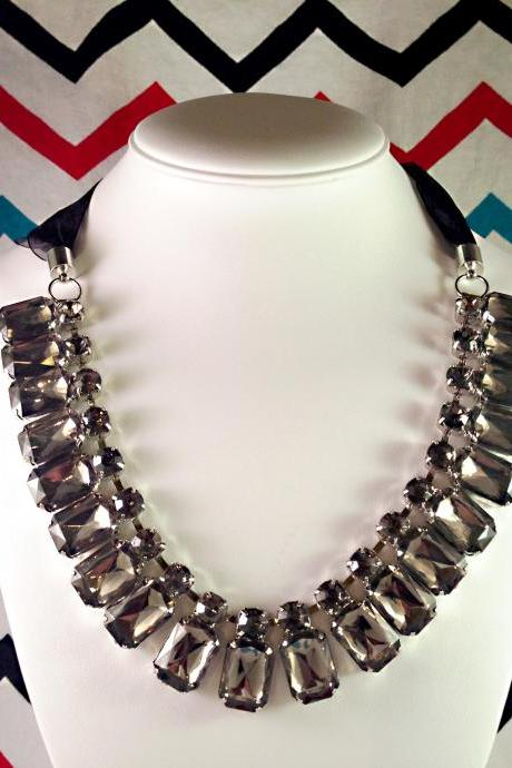 Crystal Gemstone and Ribbon Statement Bib Necklace
