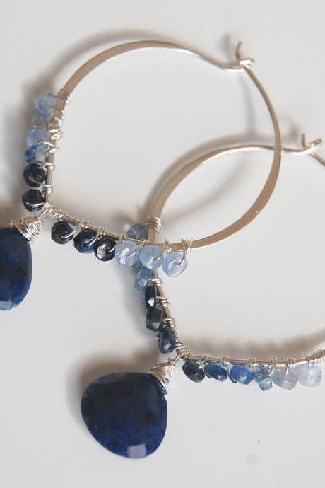 Gemstone Hoop Earrings -Dark Blue Sapphire Briolette and shaded Blue sapphire Hoop Chandelier Earrings