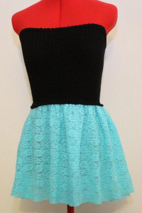 Strapless Stretch Black and Lace Aqua Mini Dress