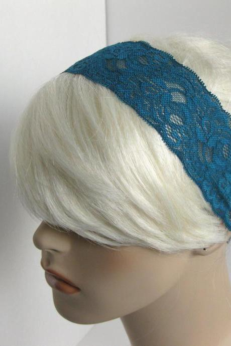 Stretch Lace Headband Blue Teal Flowers Head Wrap Women's Classic Hairband