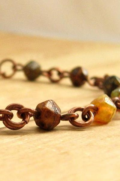 Copper Beaded Bracelet, Earth Tone Czech Glass Beaded Bracelet, Rustic Copper Jewelry
