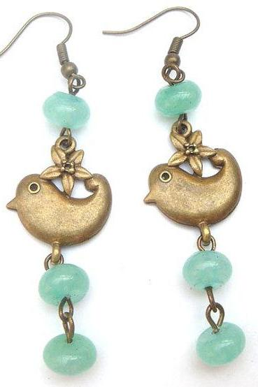 Antiqued Brass Bird Green Jade Earrings
