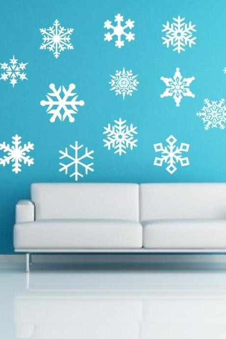 Removeable Snow Flakes Vinyl Wall Decals 22234