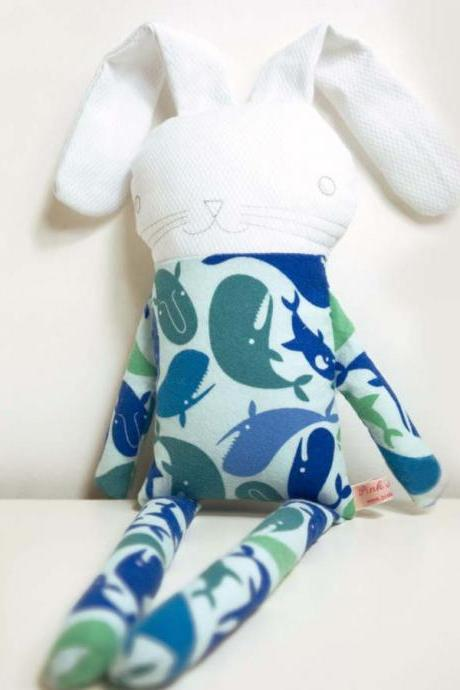 sweet softie rabbit in pyjama flannel * blue