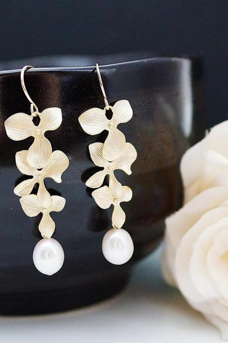 Everyday wear jewelry Wedding Jewelry Bridesmaid Jewelry Matte gold plated Orchid Trio charm with Fresh Water Pearl Drops earrings