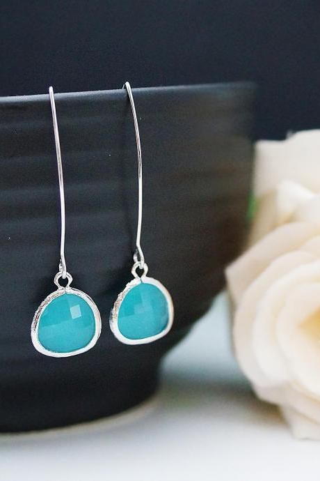 Modern Jewelry Modern Earrings Matte silver framed Sea foam Mint Opal Glass Drops Earrings . For Her. Gift for Her . Gift Under 20