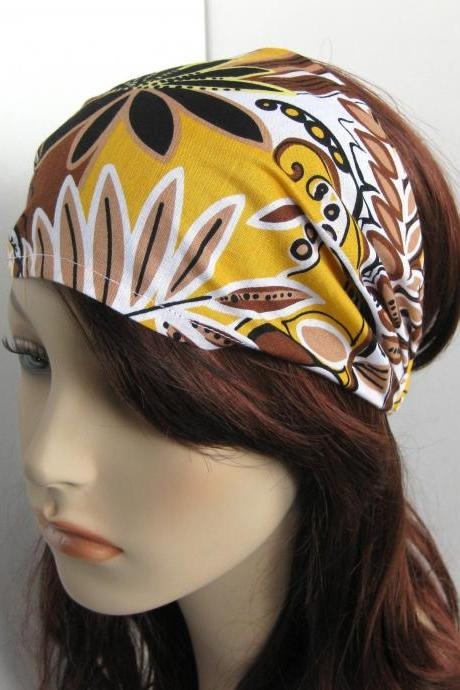 Boho Headband Head Wrap Dreadband Womens White Yellow Black Brown Floral Bandana Cotton Fabric