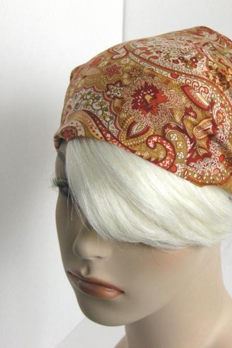 Wide Paisley Boho Bandana Hair Wrap Dreadband Women's Headband Taupe Coral Burgundy Fashion Hair Accessory