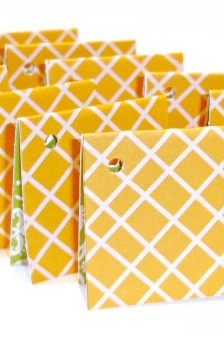Teeny tiny mini cards style tags no strings attached 2 dozen yellow diamond mini cards tags two in one