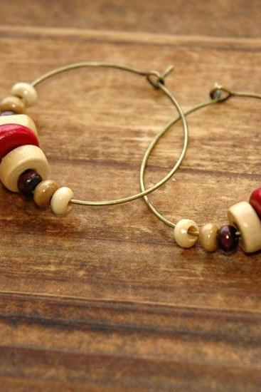 Bohemian Wood Beads Brass Charms Dangle Earrings