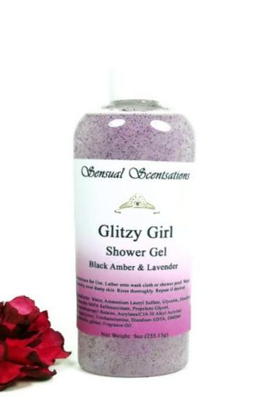 Glitzy Girl Shower Gel with Glitter Black Amber Lavender