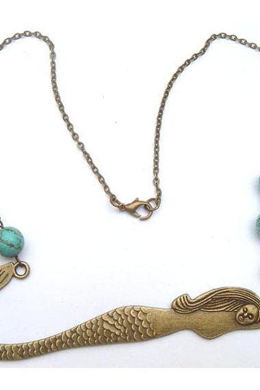 Antiqued Brass Mermaid Turquoise Necklace