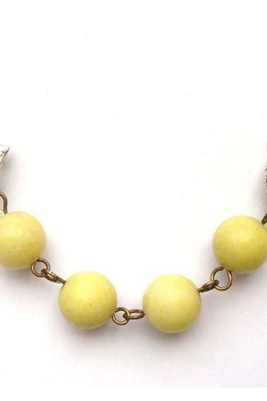 Antiqued Brass Mermaid Butter Jade Round Bead Necklace