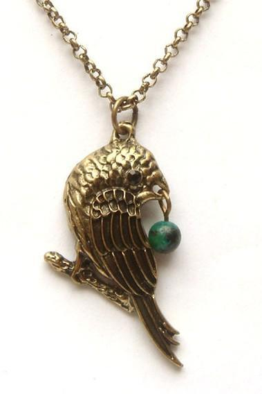 Antiqued Brass Bird Green Turquoise Necklace