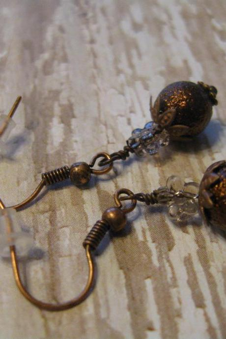 Rustic Textured Brown Pearl with Copper and Glass Earrings Item 210