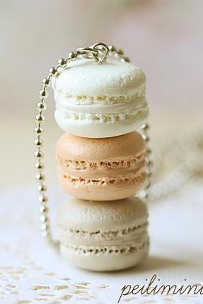 Macaron Jewelry - Trio Macarons Necklace - Milk and Honey