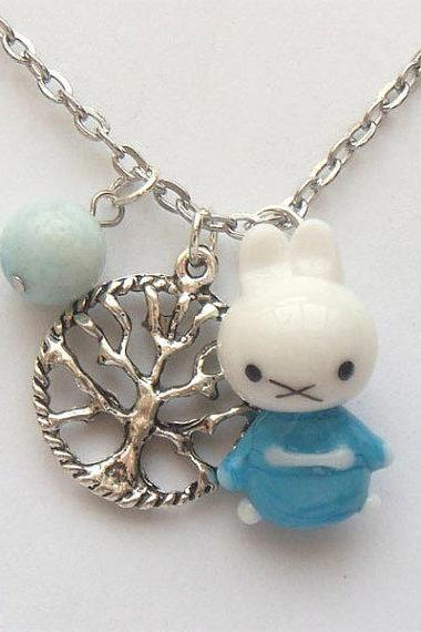 Silver Plated Brass Tree Coral Lampwork Rabbit Necklace