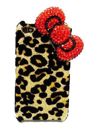 Bling leopard iphone 4 Case, Red Bow iphone 4G Case, Crystal iphone 4S Case, Leopard Gold iphone 4 Case, Ribbon iphone 4 Case A2B