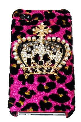 Bling leopard iphone 4 Case, Crown iphone 4G Case, Crystal iphone 4S Case, Leopard Pink iphone 4 Case, Crown iphone 4 Case