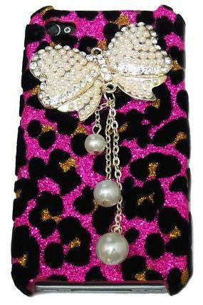 Bling Crystal Pink Leopard White Bow Ribbon Hard Case Cover for iPhone 4 Case, iphone 4G Case, iphone 4S Case BW