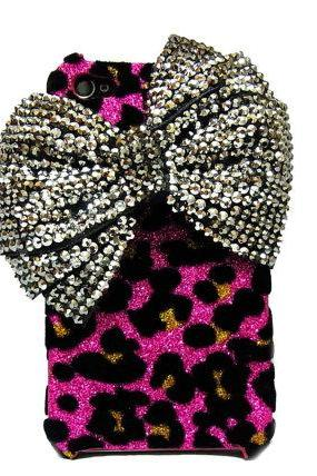 Bling Crystal Iphone 4 Silver bow Case, iphone 4G Case, iphone 4S Velvet Leopard Pink Case, iphone 4 Bow Case Cover BB