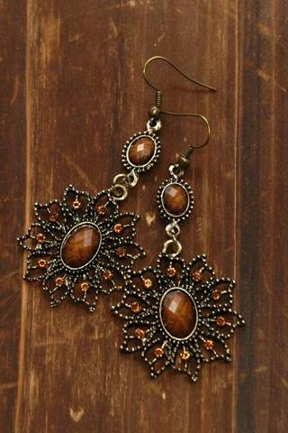 Flora Vintage Earrings - Amber Stones