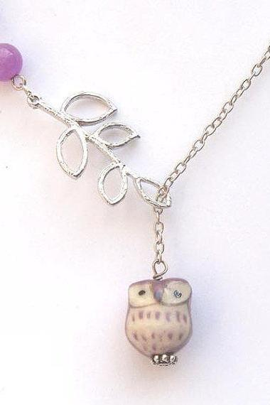 Silver Plated Brass Leaf Jade Porcelain Owl Necklace