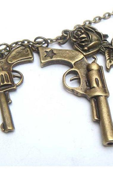 Antiqued Brass Pistol Rose Necklace