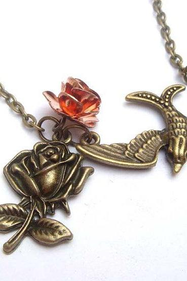 Antiqued Brass Swallow Flower Necklace