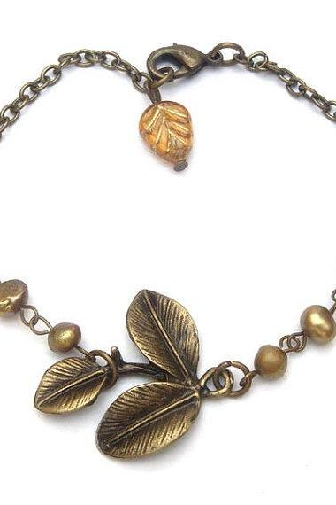 Antique Brass Leaf Pearl Czech Glass Bracelet