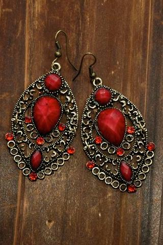 Cassandra Vintage Earrings - Ruby Stones