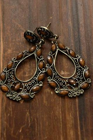 Anna Vintage Earrings - Amber Stones