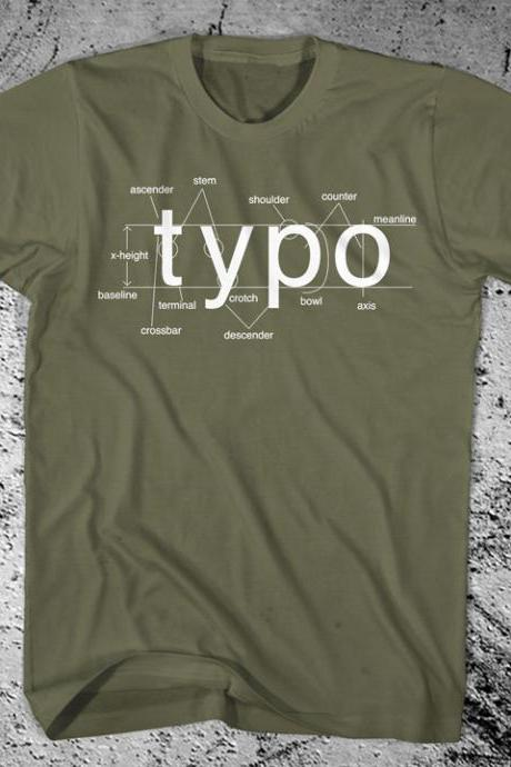 Typography Shirt Helvetica Font Sans Serif Free Shipping
