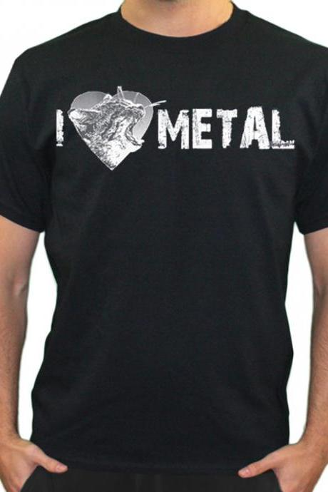 I Heart METAL Shirt Screaming Kitty I Love Metal Free Shipping